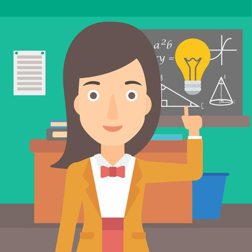 A woman pointing a finger at the light bulb on the background of classroom vector flat design illustration. Square layout.