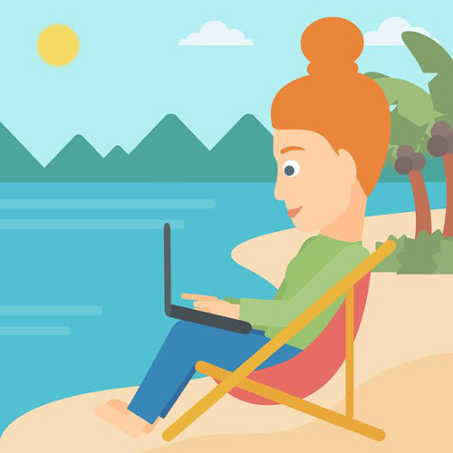 A business woman sitting on the beach in chaise lounge and working on a laptop vector flat design illustration. Square layout.