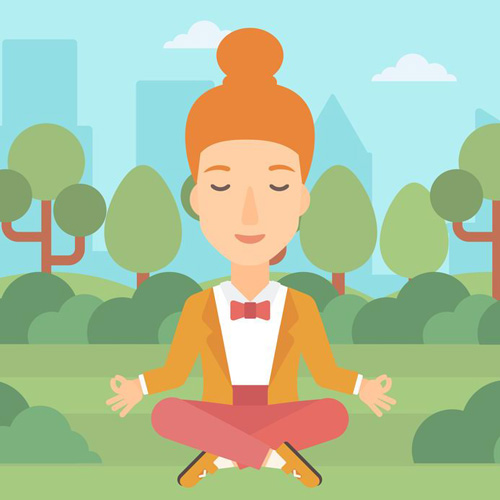 A business woman meditating in lotus pose in the park vector flat design illustration. Square layout.